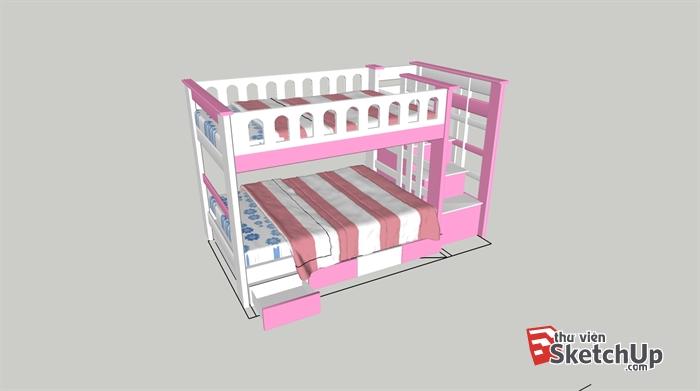 Model Giường Tầng Sketchup